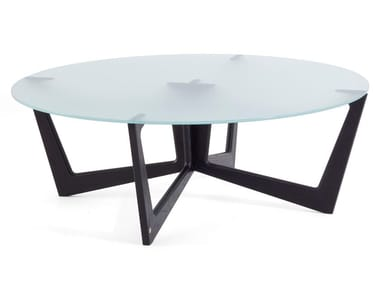 Round solid wood and glass coffee table TAULINÙT 100