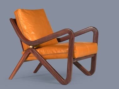 Leather armchair with armrests TAYLOR | Leather armchair