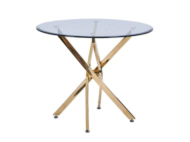Round Glass and Stainless Steel table TBR001 | Table