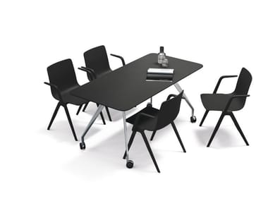 Rectangular meeting table with castors TEAM | Meeting table