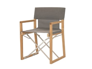 Folding chair in teak and technical fabric OCEAN | Technical fabric chair