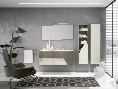 Wall-mounted vanity unit with mirror TEKNO 05