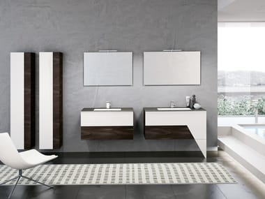 Wall-mounted vanity unit with mirror TEKNO 06
