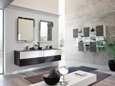 Double wall-mounted vanity unit with mirror TEKNO 07