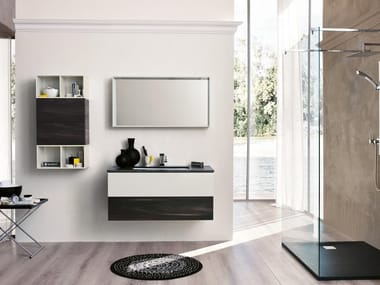 Wall-mounted vanity unit with mirror TEKNO 08