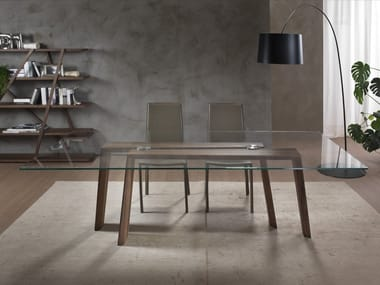 Tavolo rettangolare in legno e vetro TEN FOR TEN