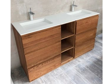 Floor-standing double vanity unit with drawers TENNESSEE | Double vanity unit