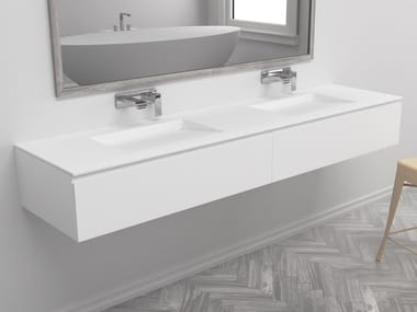 Double wall-mounted vanity unit with drawers TENNESSEE | Wall-mounted vanity unit