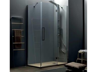 Box doccia angolare con porta a battente TEPB43 + TELF | Box doccia angolare