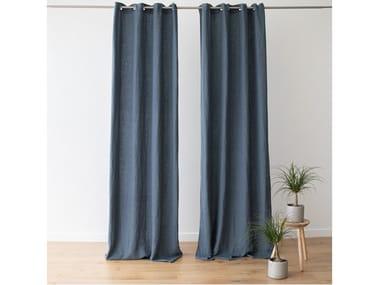 Solid-color linen curtain TERRA BLUE