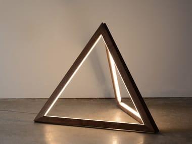 LED solid wood floor lamp TETRA