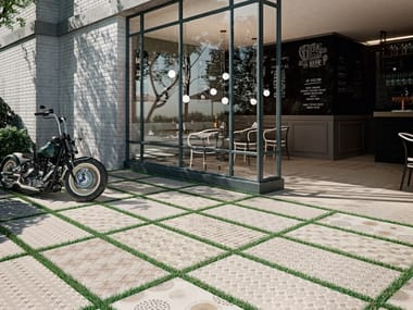 Porcelain outdoor floor tiles with textile effect TEX 2CM