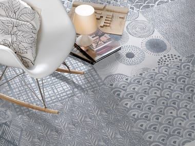 Porcelain flooring with textile effect TEX
