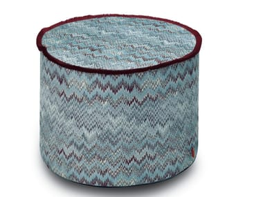 Pouf cilindro in tessuto jacquard double-face THAILAND | Pouf