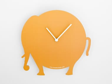 Wall-mounted cardboard clock and cardboard briefcase THE ORANGE ELEPHANT