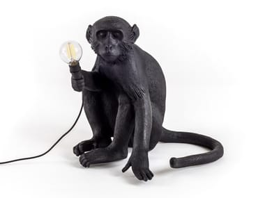 Lampada da terra a LED in resina THE MONKEY LAMP BLACK SITTING