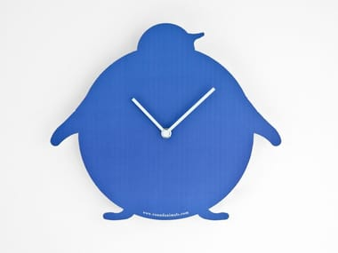 Wall-mounted cardboard clock and cardboard briefcase THE BLUE PENGUIN