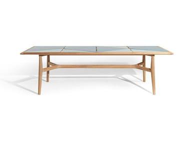 Rectangular teak garden table with stoneware top THE SECRET GARDEN | Garden table