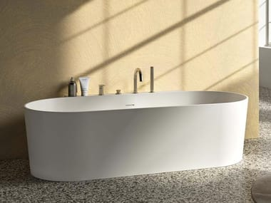 Vasca da bagno ovale in Solid Surface THEA WALL