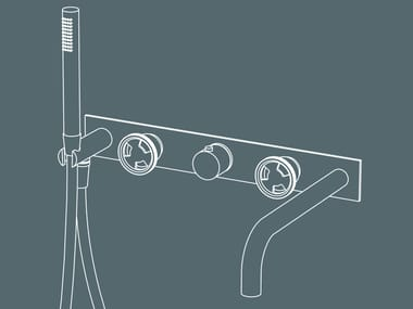 Wall-mounted thermostatic bathtub tap with hand shower TIBÒ - GPO49