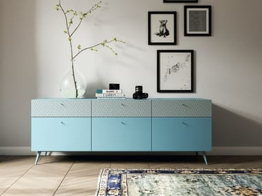 Lacquered wooden sideboard with drawers TILES | Sideboard with drawers