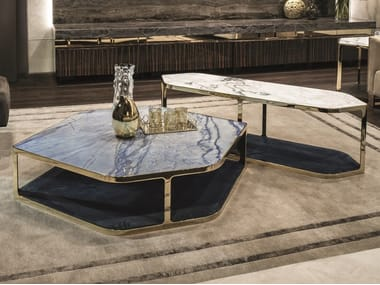 Low hexagonal coffee table with integrated magazine rack TILES | Hexagonal coffee table