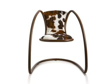 Cantilever upholstered horse hide chair TIMELESS | Horse hide chair