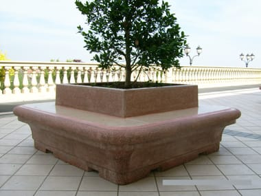Apricena stone Bench with Integrated Planter with back TIMGAD