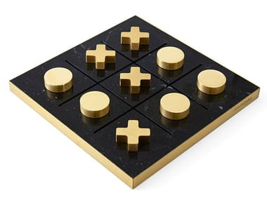 Marble and solid brass table game TIP TAP TOE