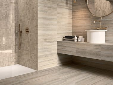 Porcelain stoneware wall/floor tiles with travertine effect TIPOS BONE