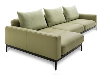 Leather sofa with chaise longue ROLF BENZ 370 TIRA | Leather sofa