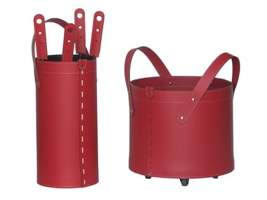 Bonded leather Log holder / Fire tools TOCAD