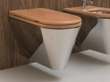 Wall-hung stainless steel and wood toilet JOHN & MARY | Toilet