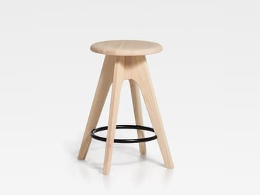 Wooden stool with footrest TOMMY 61 | Wooden stool