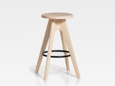 Wooden stool with footrest TOMMY 76 | Wooden stool