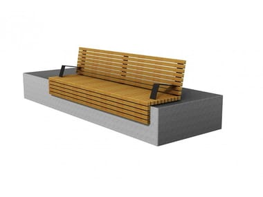 Wooden Bench with armrests with back TORINO