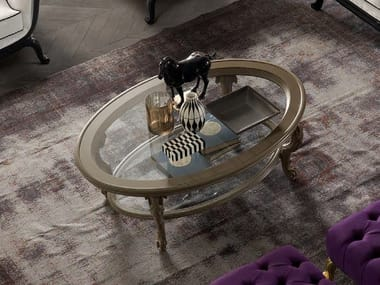 Oval glass coffee table with integrated magazine rack TORNABUONI | Oval coffee table