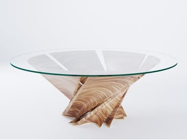 Round wood and glass table TORSION