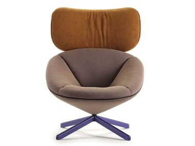 Fabric armchair with 4-spoke base with headrest TORTUGA   Fabric armchair