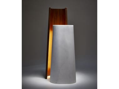 Marble and american walnut table lamp TOTEM