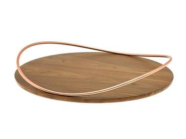 Vassoio rotondo in legno di noce canaletto e ferro TOUCHÉ B BOIS