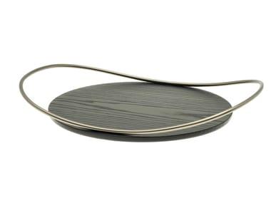 Vassoio rotondo in legno massello di frassino e ferro TOUCHÉ E BOIS