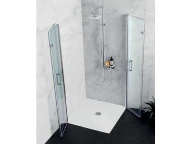 Box doccia angolare con porta a soffietto TPS35 + TPS35 | Box doccia angolare