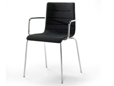 Upholstered fabric chair with armrests TESA STRIPE AR   Chair with armrests