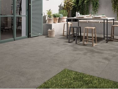 Porcelain stoneware outdoor floor tiles with stone effect TRACKS 20MM