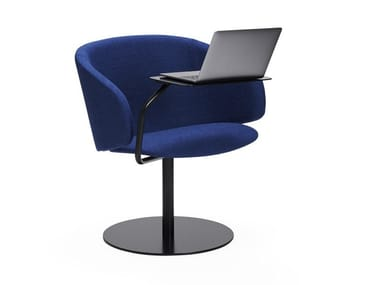 Upholstered fabric easy chair with armrests SOLA | Easy chair