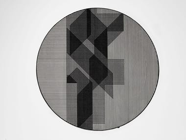 Round striped velvet rug TRAMATO TR822