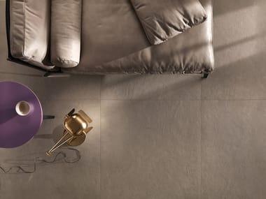 Full-body porcelain stoneware flooring TRAME PLASTER TABACCO