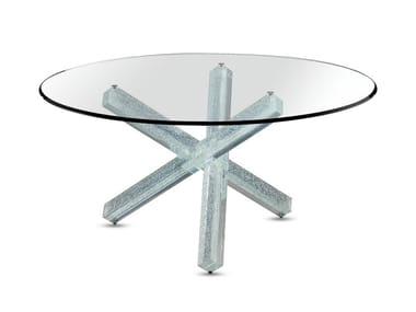 Tavolo da pranzo rotondo in vetro TRANSEO CRAQUELÈ | Tavolo rotondo