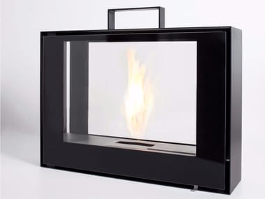 Freestanding bioethanol fireplace with panoramic glass TRAVELMATE